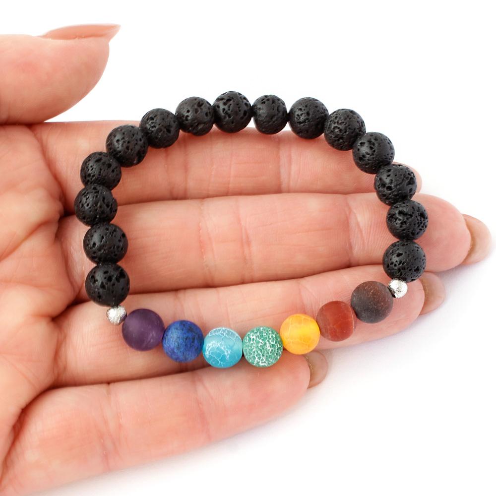 Pulseira Pedra Vulcanica e Pedras Naturais dos Chakras Yoga e Aroma