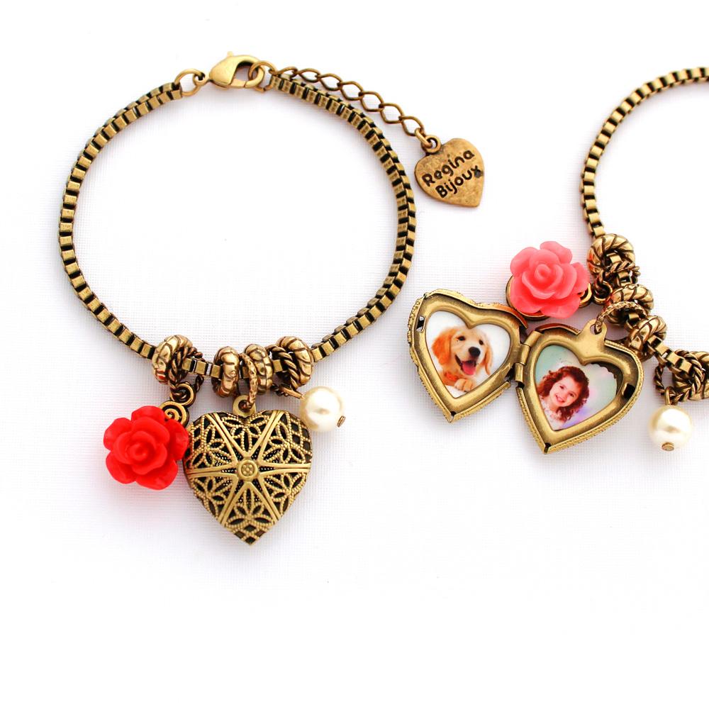 Pulseira Relicário Coração para Foto Ouro Velho com Flor