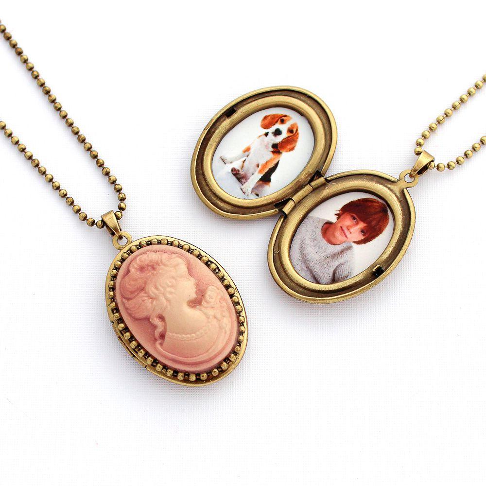 Relicário Camafeu Vintage Ouro Velho Tons Rosa