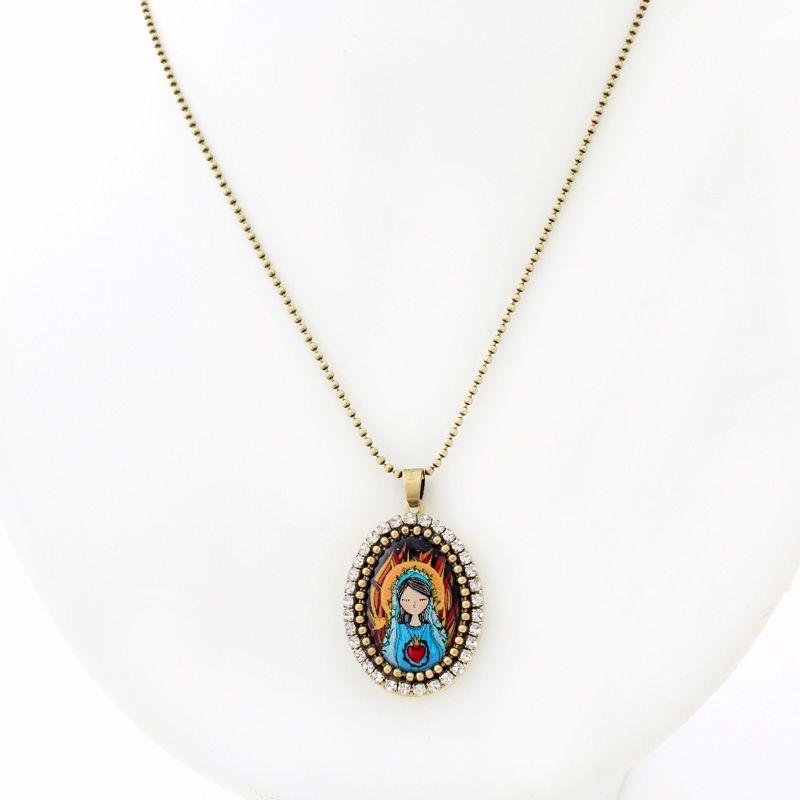 Relicario colar Sagrado Coração de Maria em ouro velho