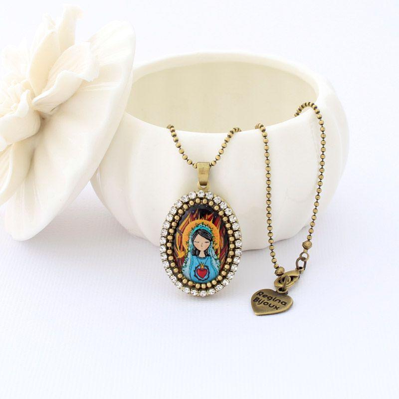 Relicário colar Sagrado Coração de Maria Ouro Velho