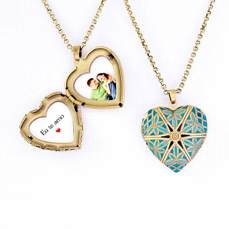 Relicário Coração Esmaltado Médio Ouro Velho Azul