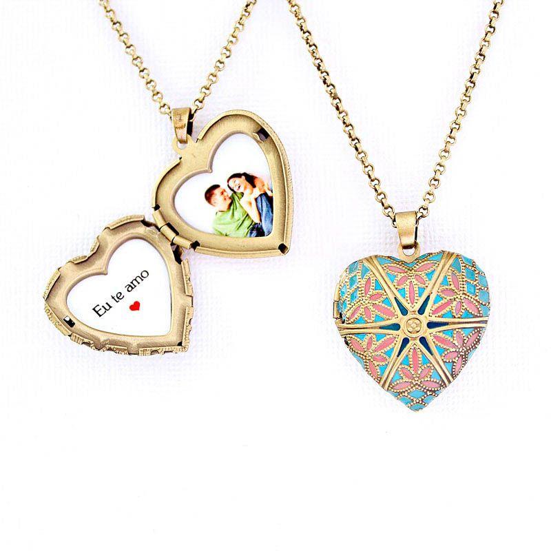 Relicário Coração Esmaltado Médio Ouro Velho Azul e Rosa