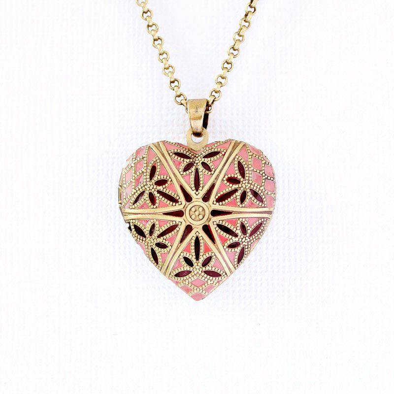 Relicário Coração Esmaltado Médio Ouro Velho Rosa