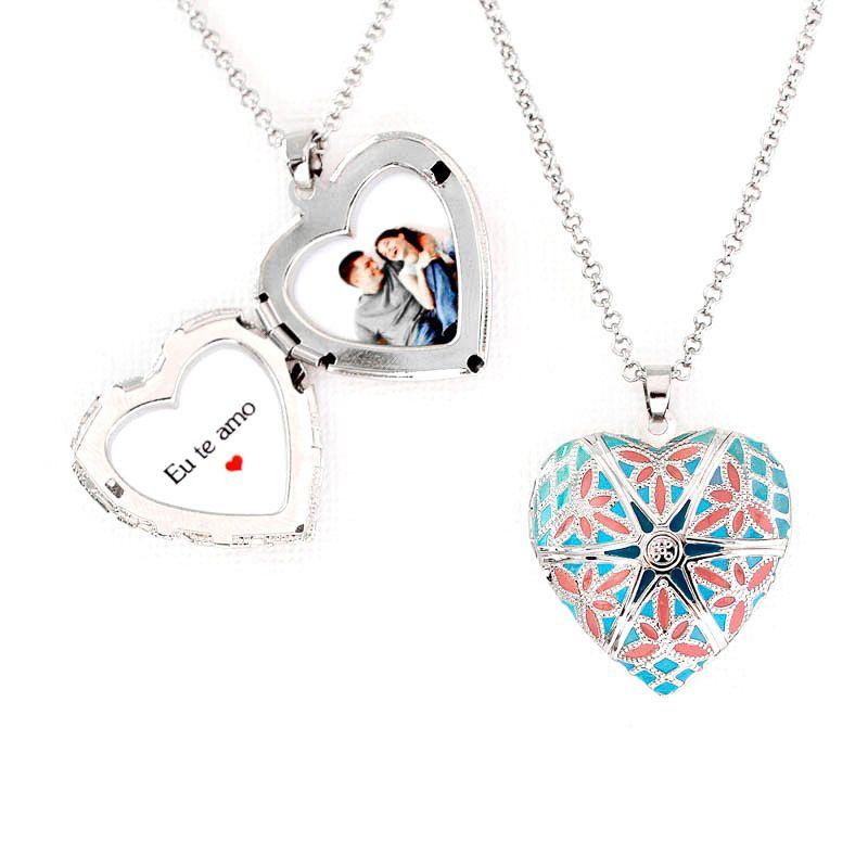 Relicário Coração Esmaltado Médio Prateado Azul e Rosa