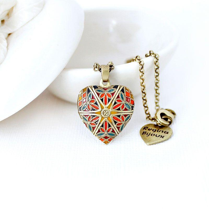 Relicário Coração Esmaltado Pequeno Ouro Velho Multicolor