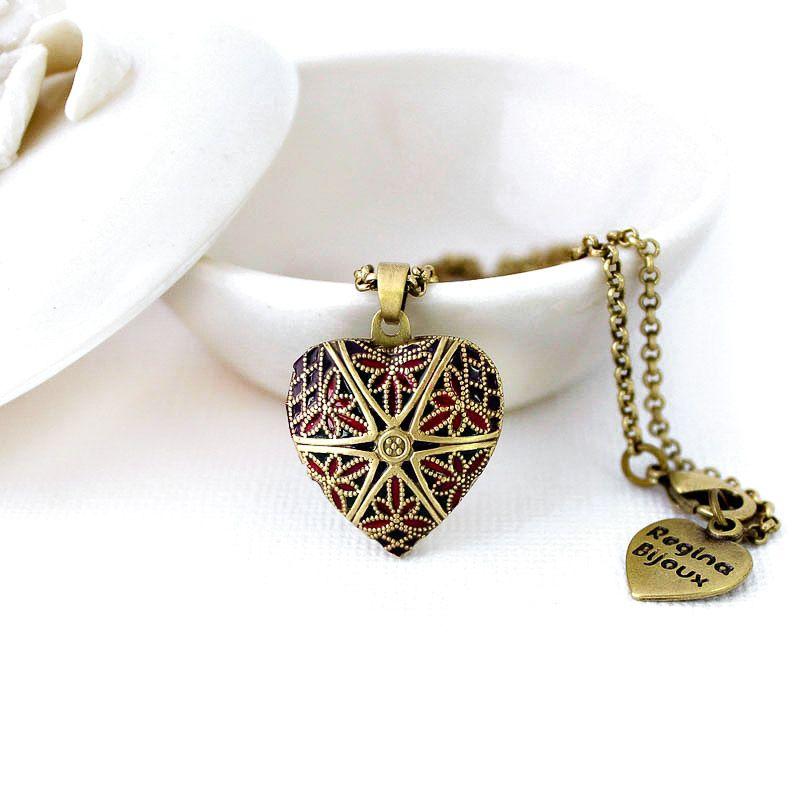 Relicário Coração Esmaltado Pequeno Ouro Velho Roxo