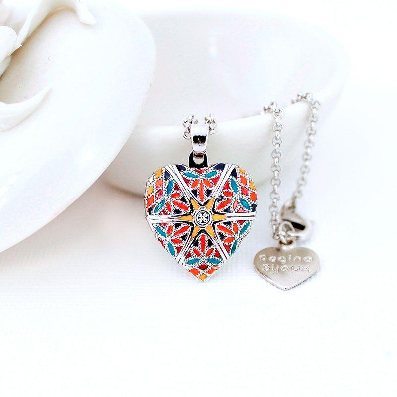 Relicário Coração Esmaltado Pequeno Prateado Multicolor