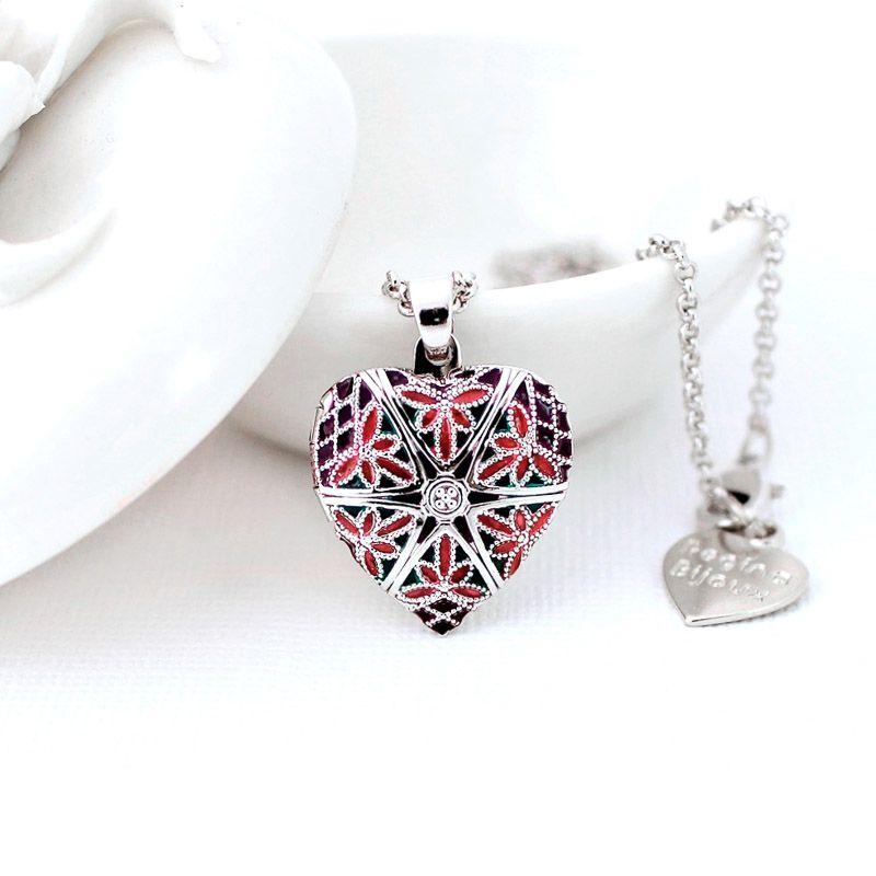 Relicário Coração Esmaltado Pequeno Prateado Roxo