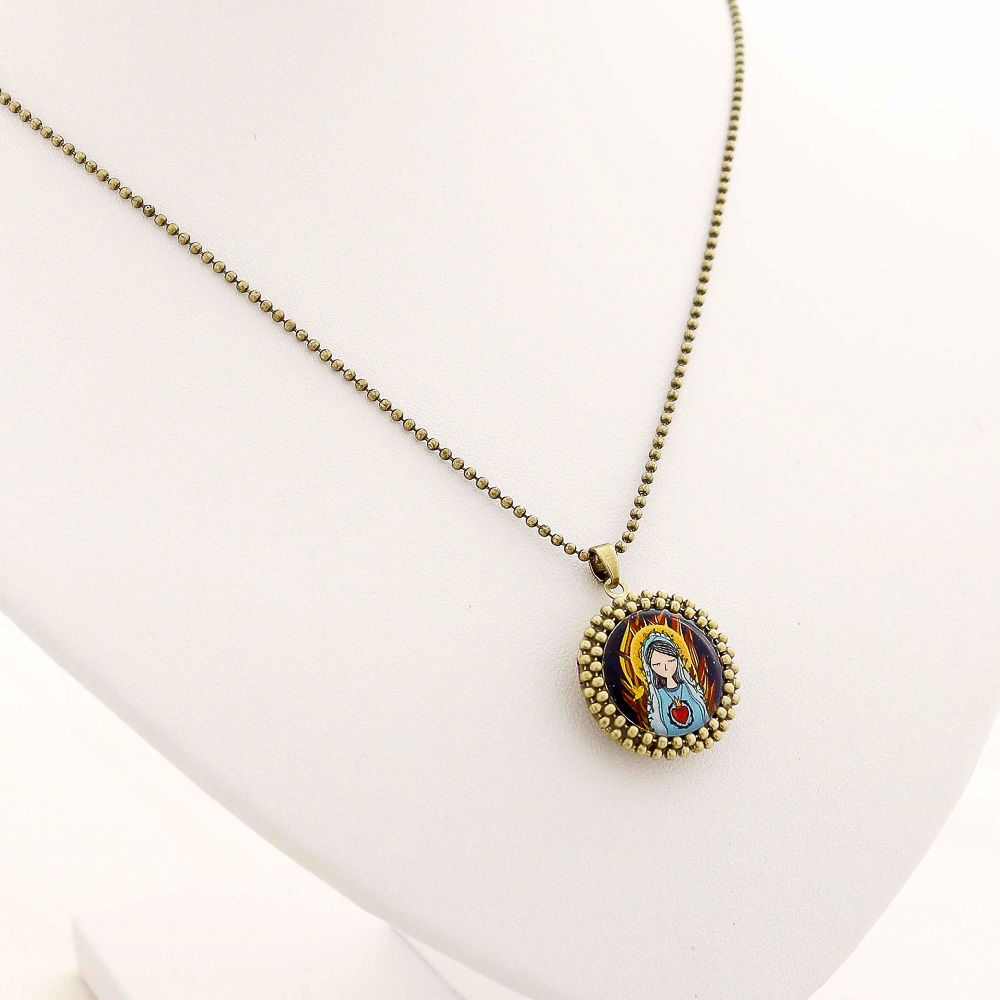 Relicário Pequeno Sagrado Coração de Maria Ouro Velho