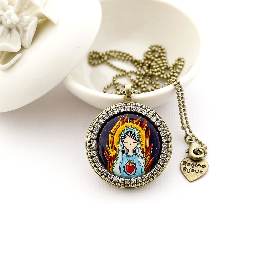 Relicário Sagrado Coração de Maria para Fotos Ouro Velho