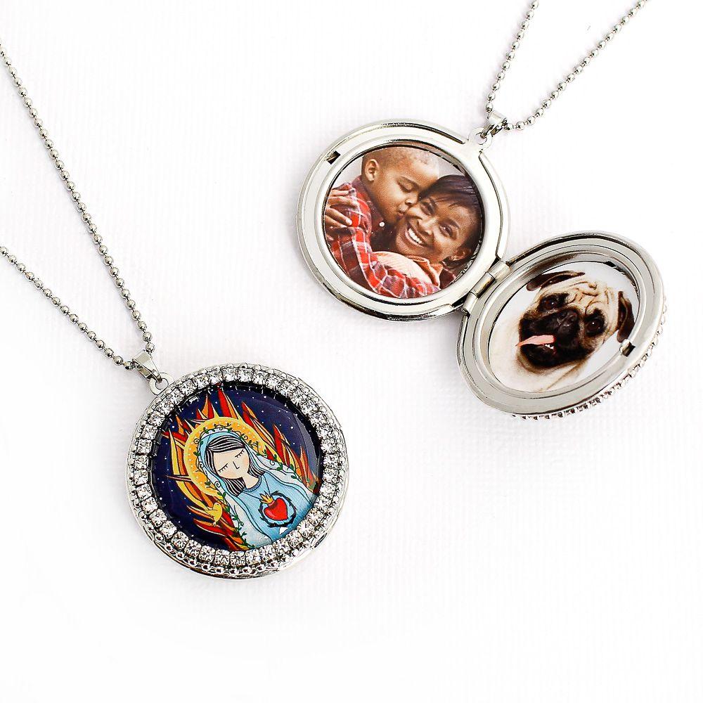 Relicário Sagrado Coração de Maria para Fotos Prateado