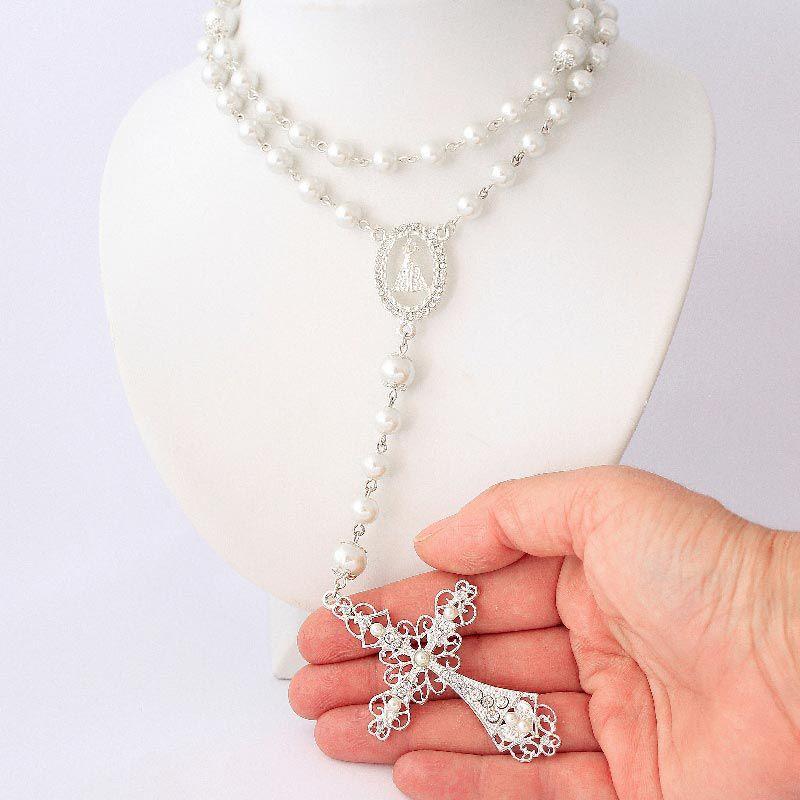 Terço Relicário Grande Para Noiva Folheado a Prata