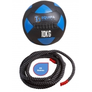 Wall Ball Couro 10KG + Corda Naval 40MM 05Metros
