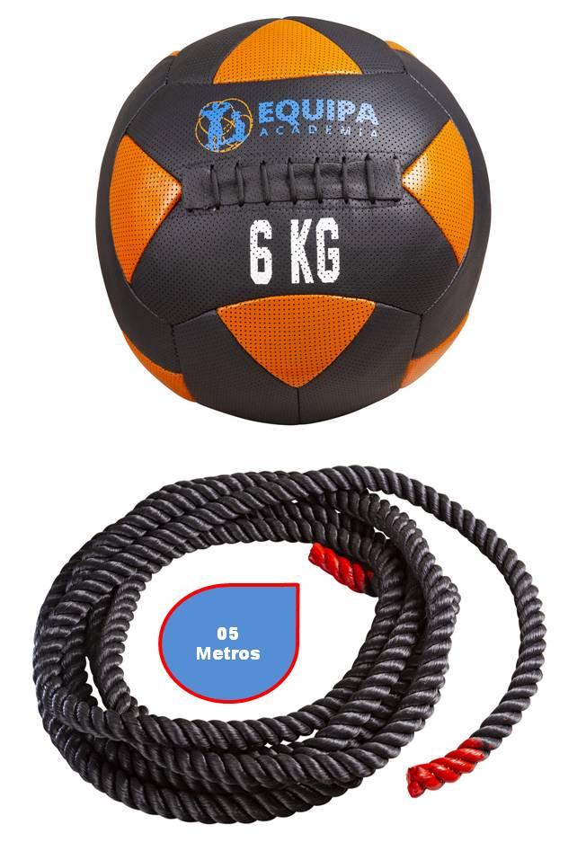 Kit Corda Naval 40MM 05Metros + Wall Ball Couro 06KG
