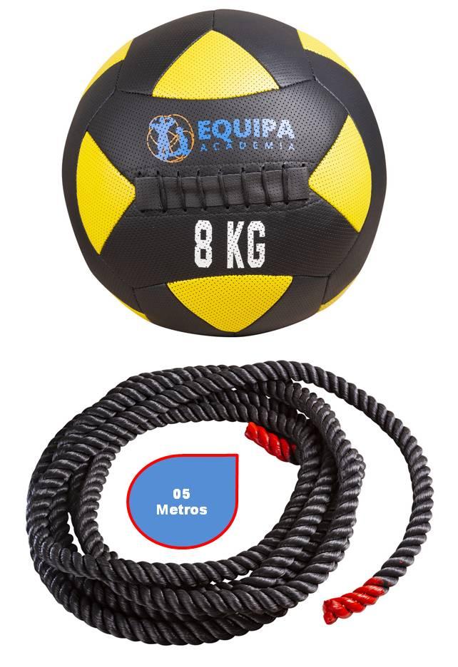 Kit Corda Naval 40MM 05Metros + Wall Ball Couro 08KG