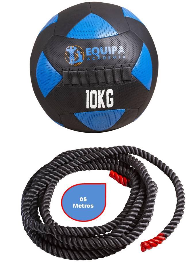 Kit Corda Naval 40MM 05Metros + Wall Ball Couro 10KG