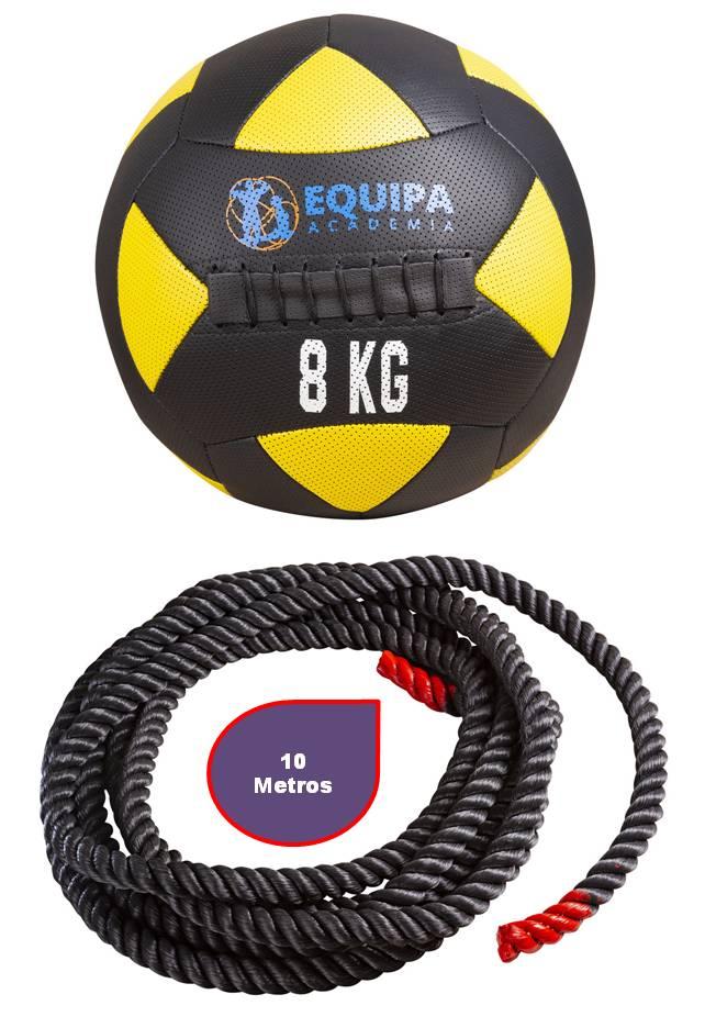 Kit Corda Naval 40MM 10Metros + Wall Ball Couro 08KG