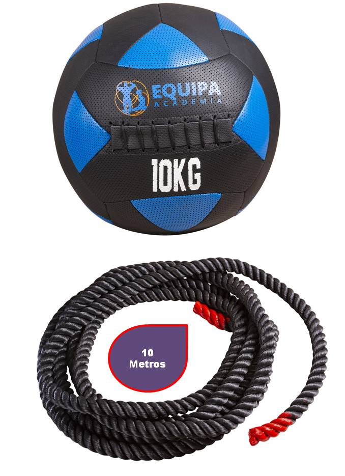 Kit Corda Naval 40MM 10Metros + Wall Ball Couro 10KG