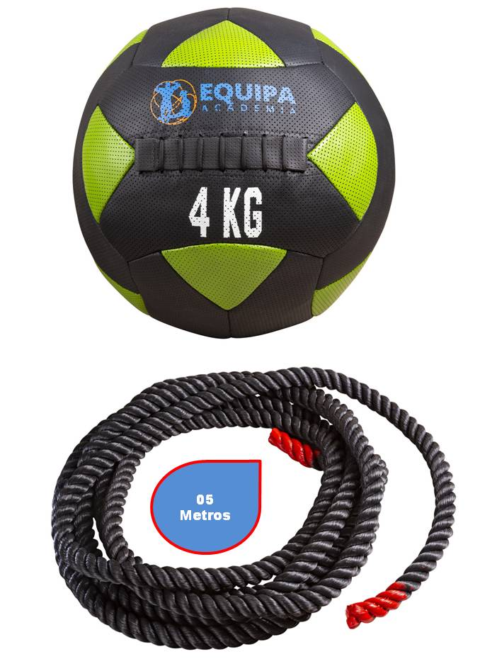Wall Ball Couro 04KG + Corda Naval 40MM 05Metros