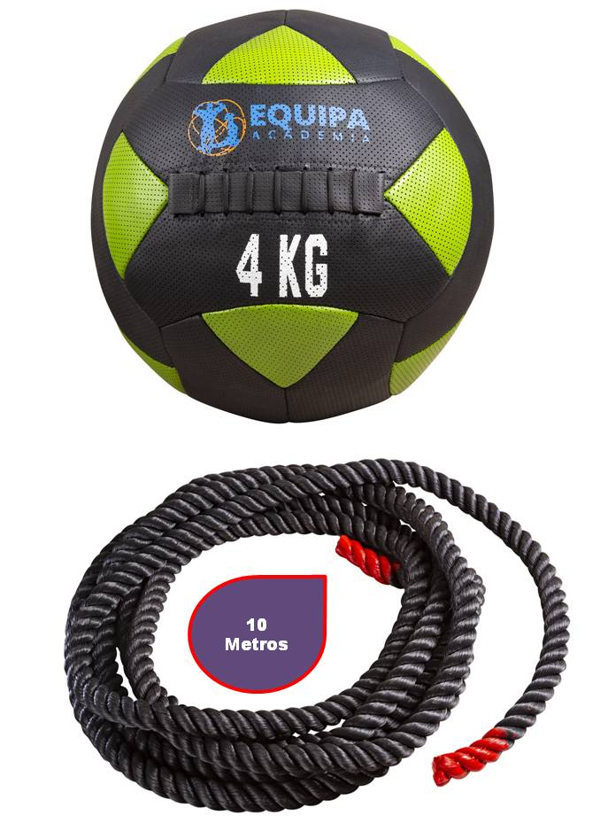 Wall Ball Couro 04KG + Corda Naval 40MM 10Metros