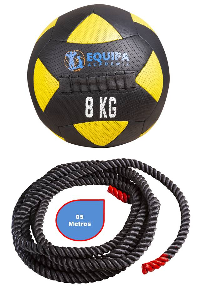Wall Ball Couro 08KG + Corda Naval 40MM 05Metros