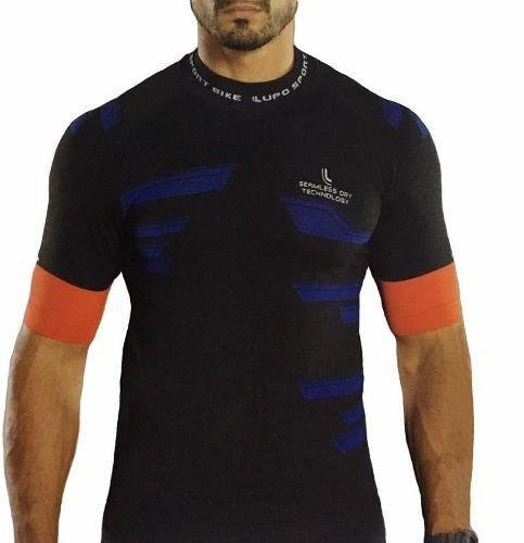 Camiseta Masculina Cycle Bike Pedal Manga Curta Bolsos Lupo