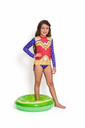 Blusa proteção solar infantil mulher maravilha Uv50+ kids
