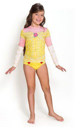 Blusa  proteção solar criança bela e a fera amarela estampada