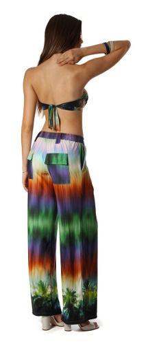 Calça Viscose Pantalona Confortável Bolsos Frente Costa
