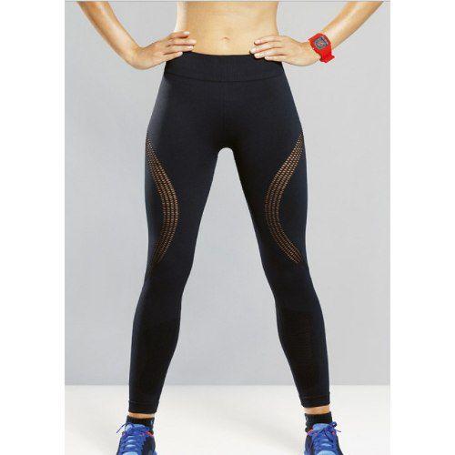 Calça legging academia pilates preta tecido trabalhado lupo