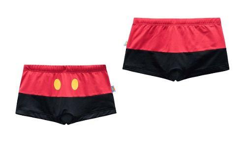 Sunga boxer infantil preta vermelha mickey veggi