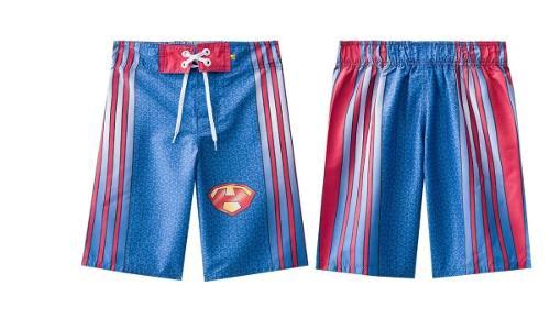 Bermuda infantil surf piscina tactel superman azul vermelha