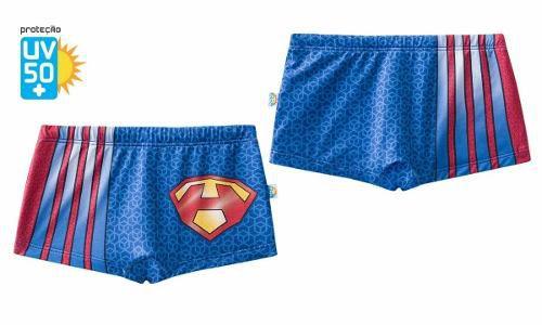 Sunga infantil boxer azul vermelha superman piscina praia