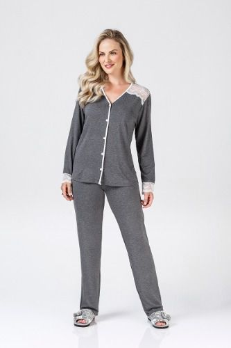 Pijama fem renda botão frio confortável mescla elegante