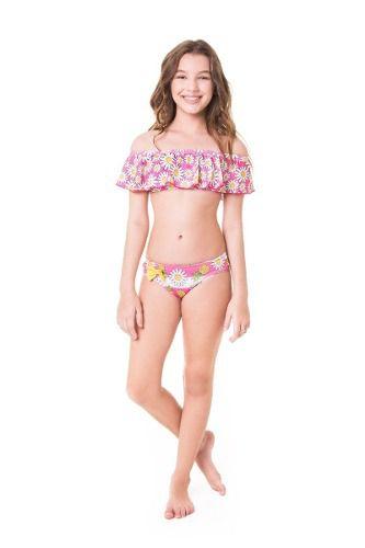 Biquini infantil ciganinha blusinha bojo calcinha larguinha