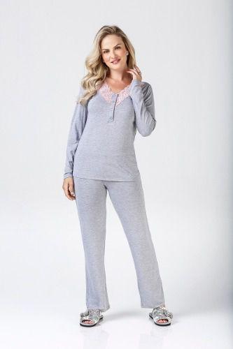 Pijama fem frio botão com renda mescla elegante confortável