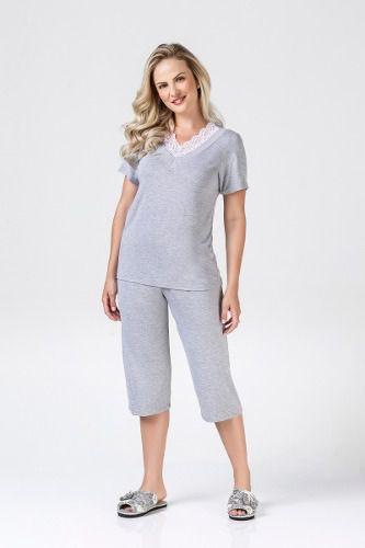 Pijama fem blusa manga curta capri renda mescla elegante