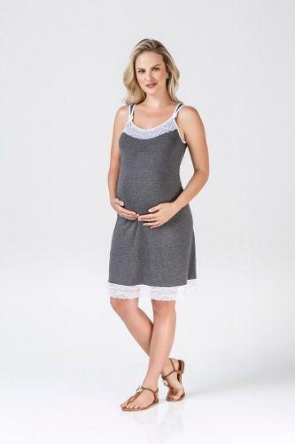 Camisola grávida alcinha renda elegante viscose mescla