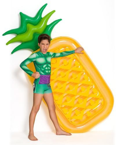 Blusa criança proteção sol hulk personagem marvel verde