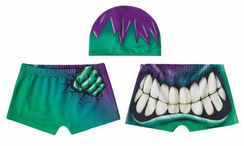 Sunga boxer infantil hulk personagem marvel verde estampada