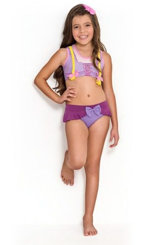 Biquíni Cropped Infantil Princesa Rapunzel Tranças Lilas