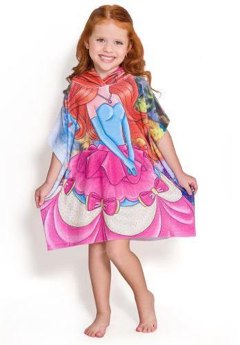Roupão atoalhado infantil da princesa com capuz