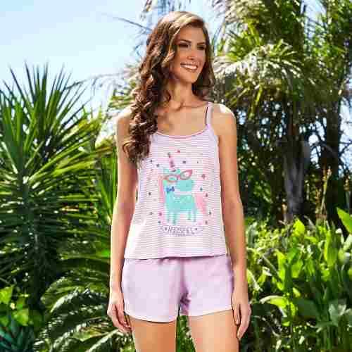 Pijama feminino algodão unicórnio short doll alcinha