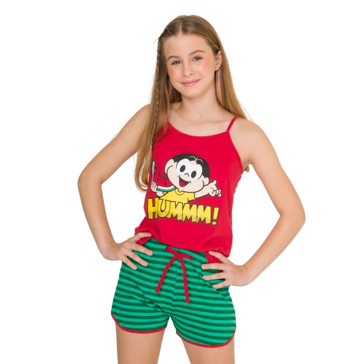 Pijama juvenil menina alcinha turma da monica magali verão