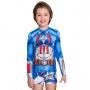 Blusa proteção sol infantil personagem capitão américa azul