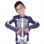Blusa proteção solar infantil preta esqueleto piscina praia