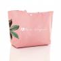 Bolsa de praia rosê com flores verde alça personalizada