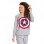 Pijama feminino capitão americal algodão frio mesclá