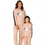 Pijama feminino moletinho flanelado rosa urso mãe